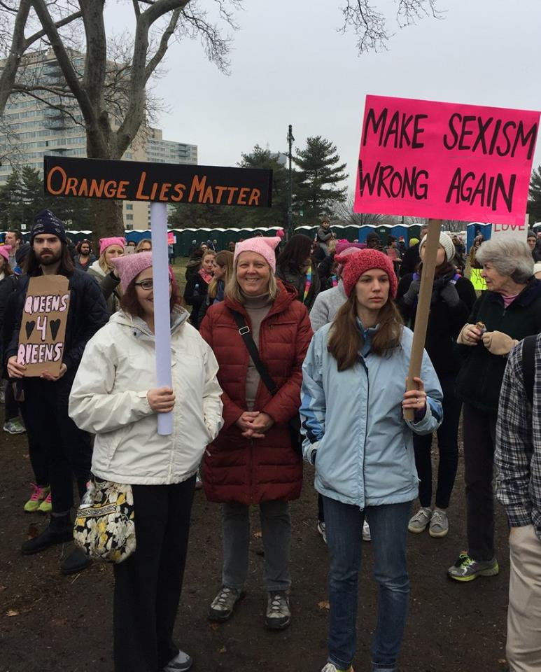 Orange Lies Matter, Make Sexism Wrong Again protest signs at - Women's March, Philadelphia, 2017-01-21