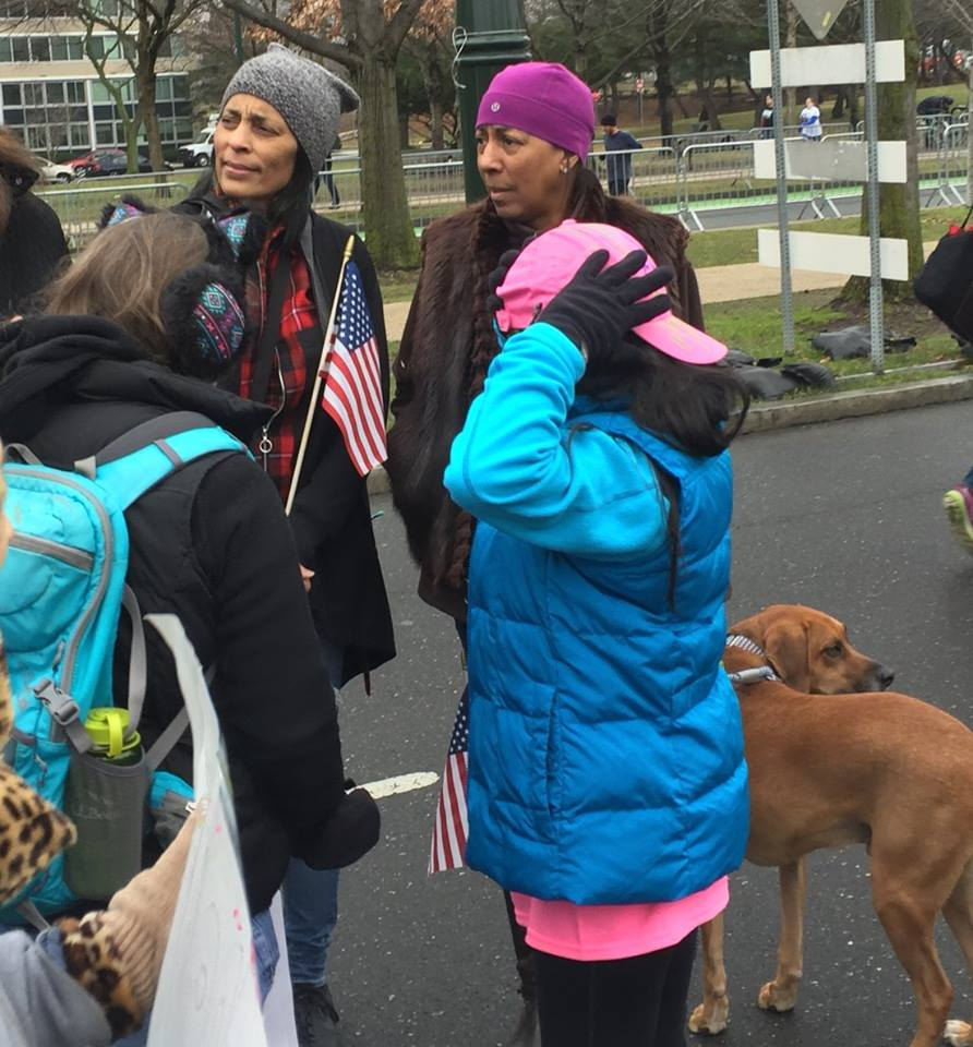women of color at the Women's March, Jan 21, 2017, Philadelphia