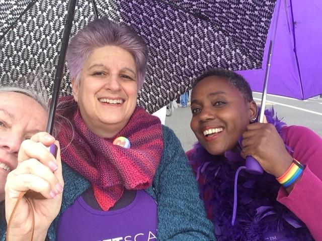 Mary McGinley, Wendy Sheridan, Robin Renee with umbrellas, NJ Pride 2018-06-03