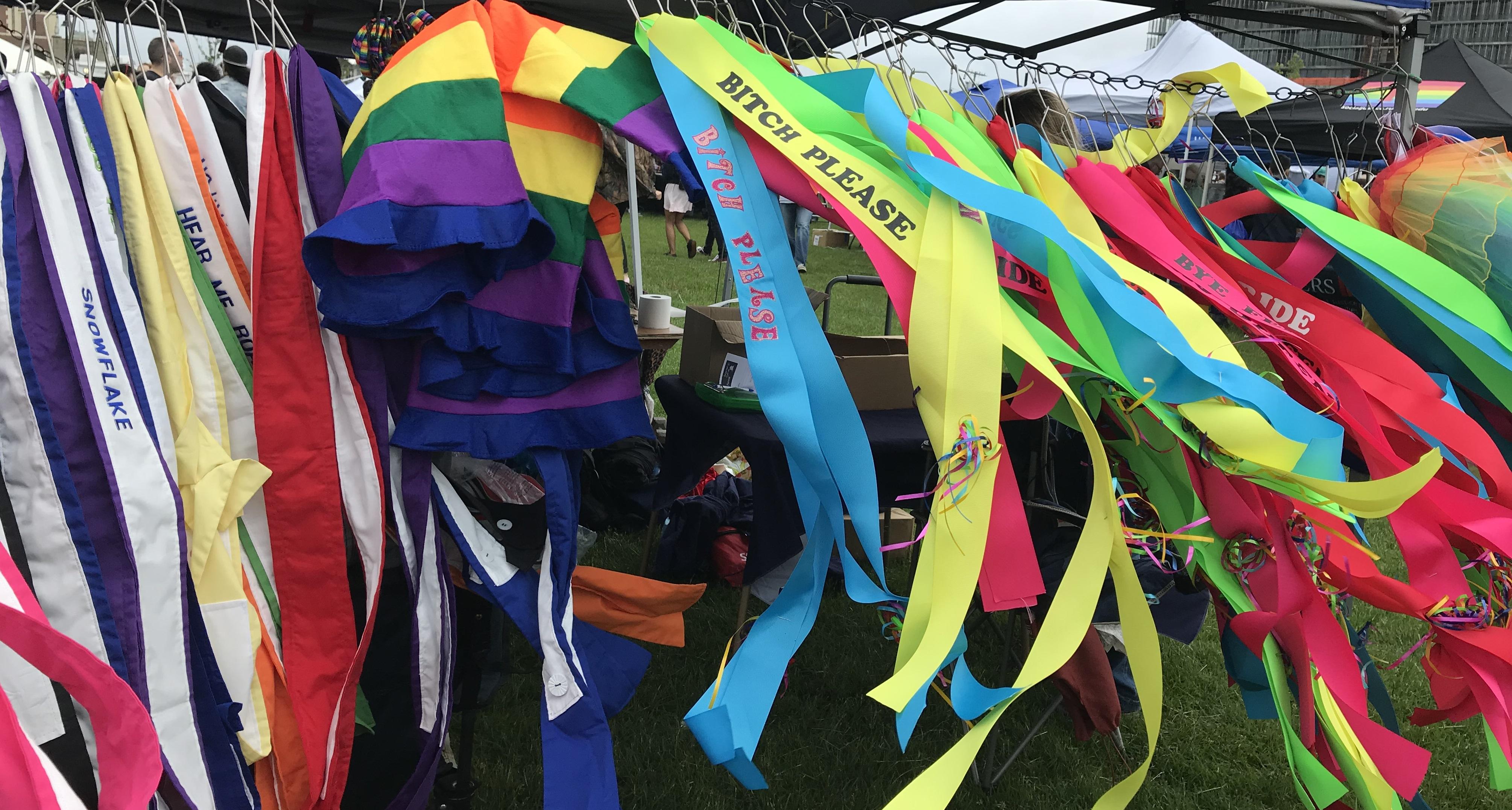 NJ LGBTQ Pride sashes in the wind, 6/3/2018