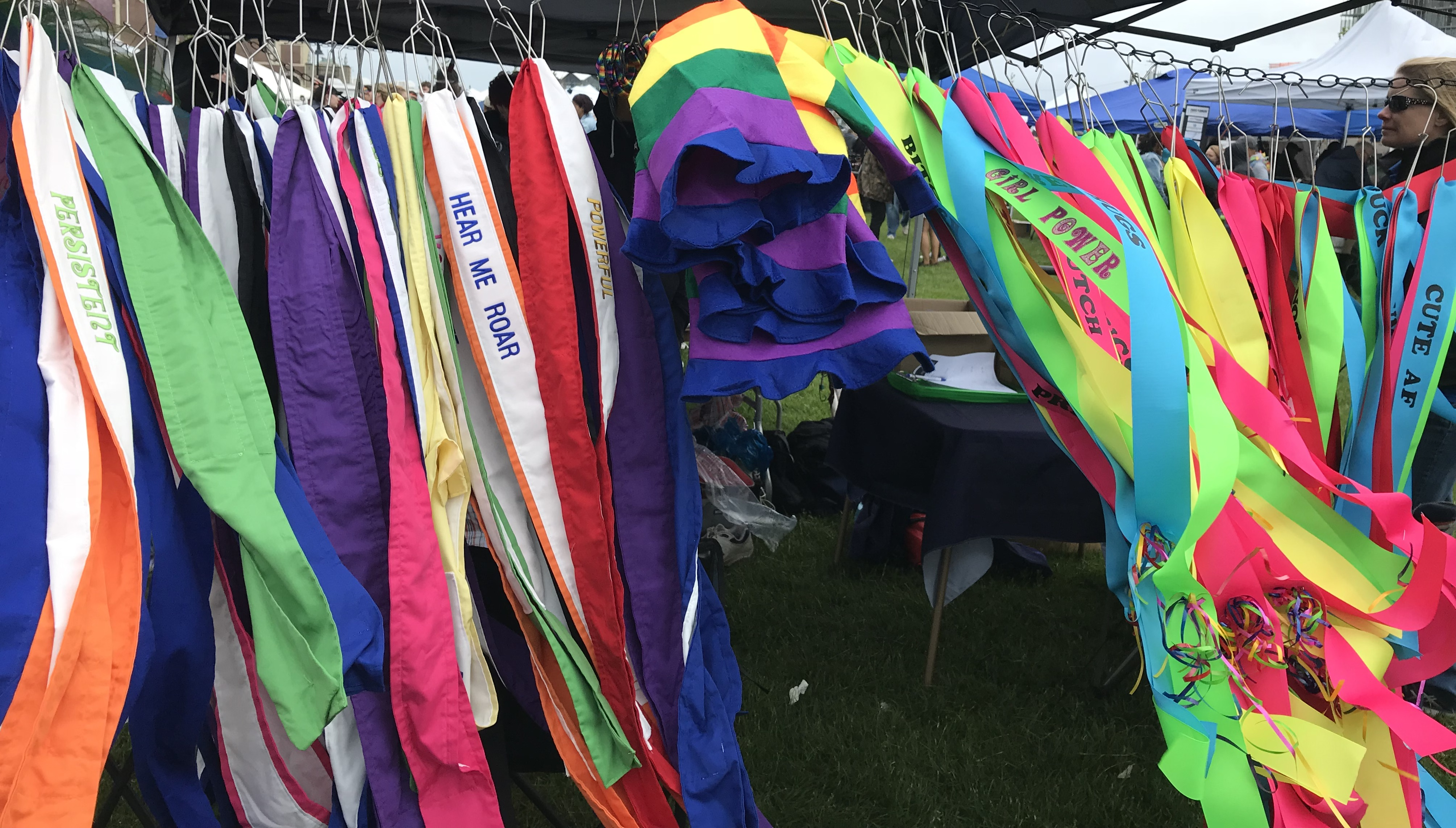 NJ LGBTQ Pride sashes in the wind