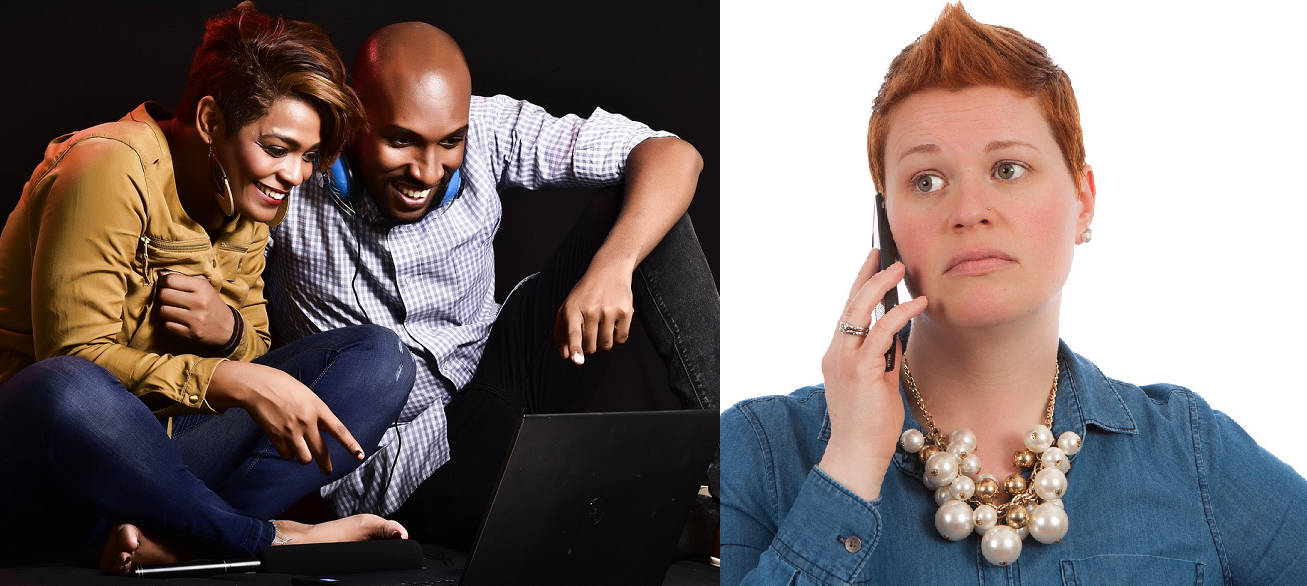 A black couple smiling at something online while #PermitPatty makes a worried phone call