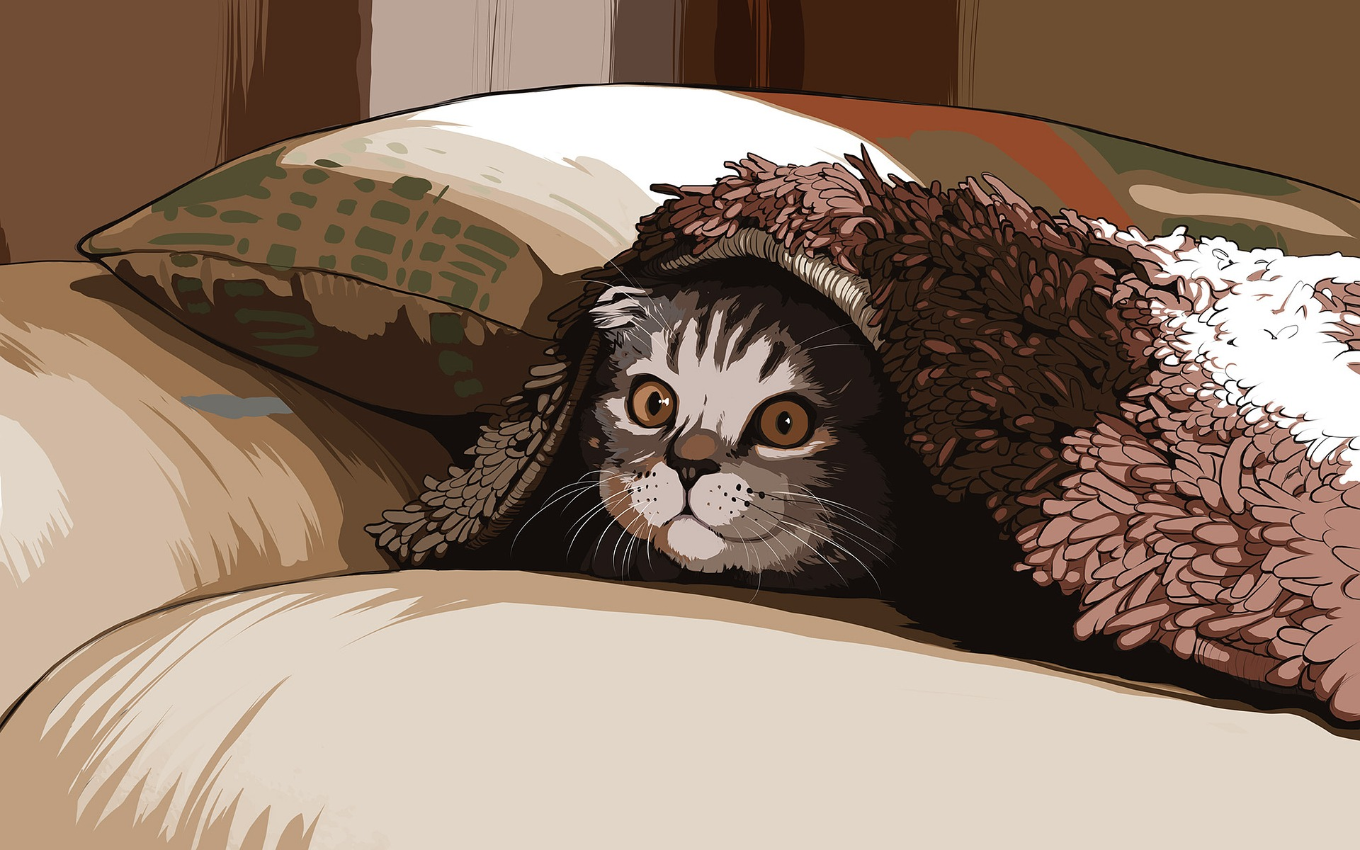 cute cat peeking out from under a blanket; illustration
