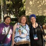 (L to R) Cheryl Martin, Joy Denebeim, and Wendy Sheridan at Worldcon76 in San Jose, CA, August 2018