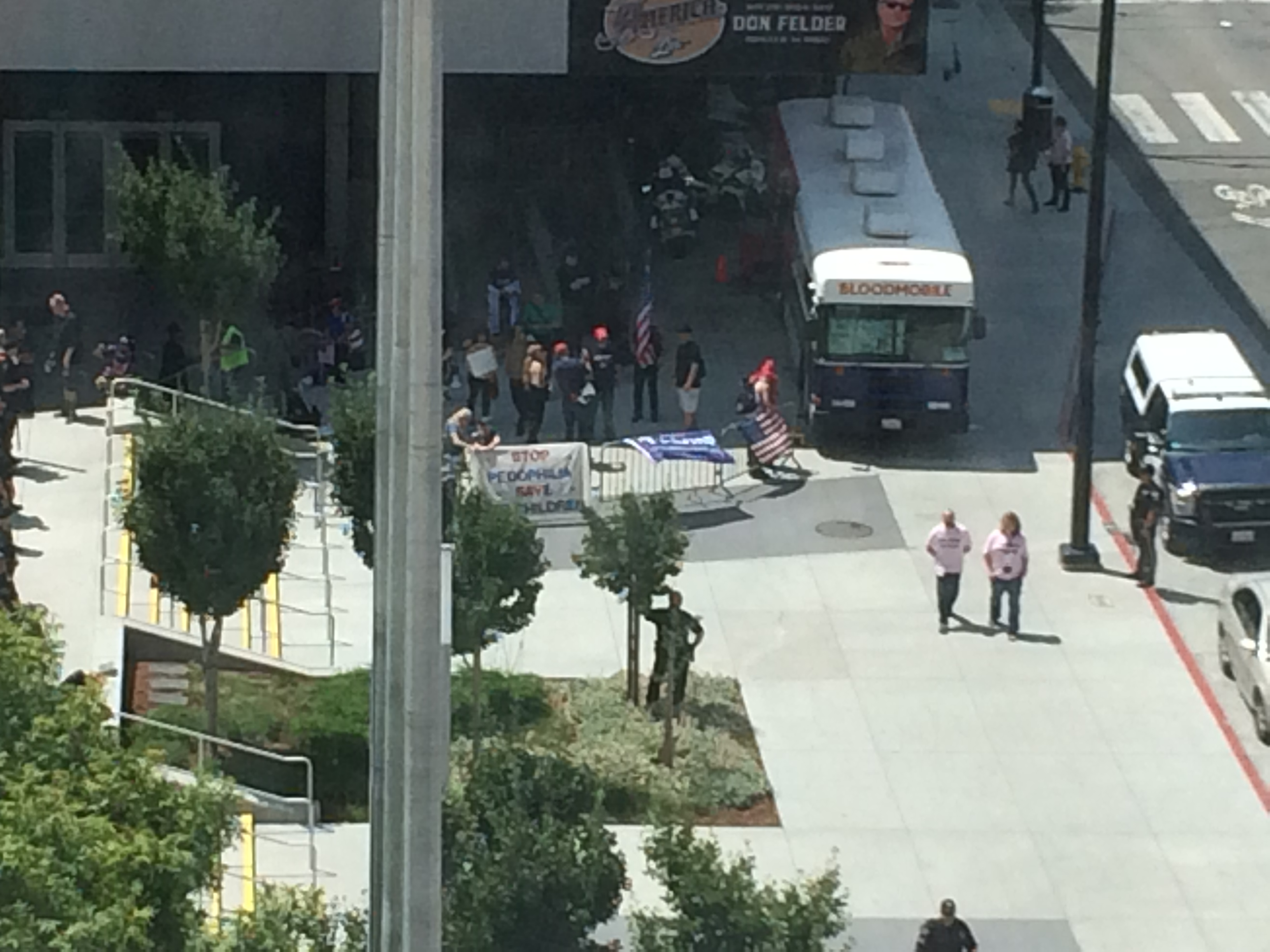 The protest at Worldcon (more police than protestors)