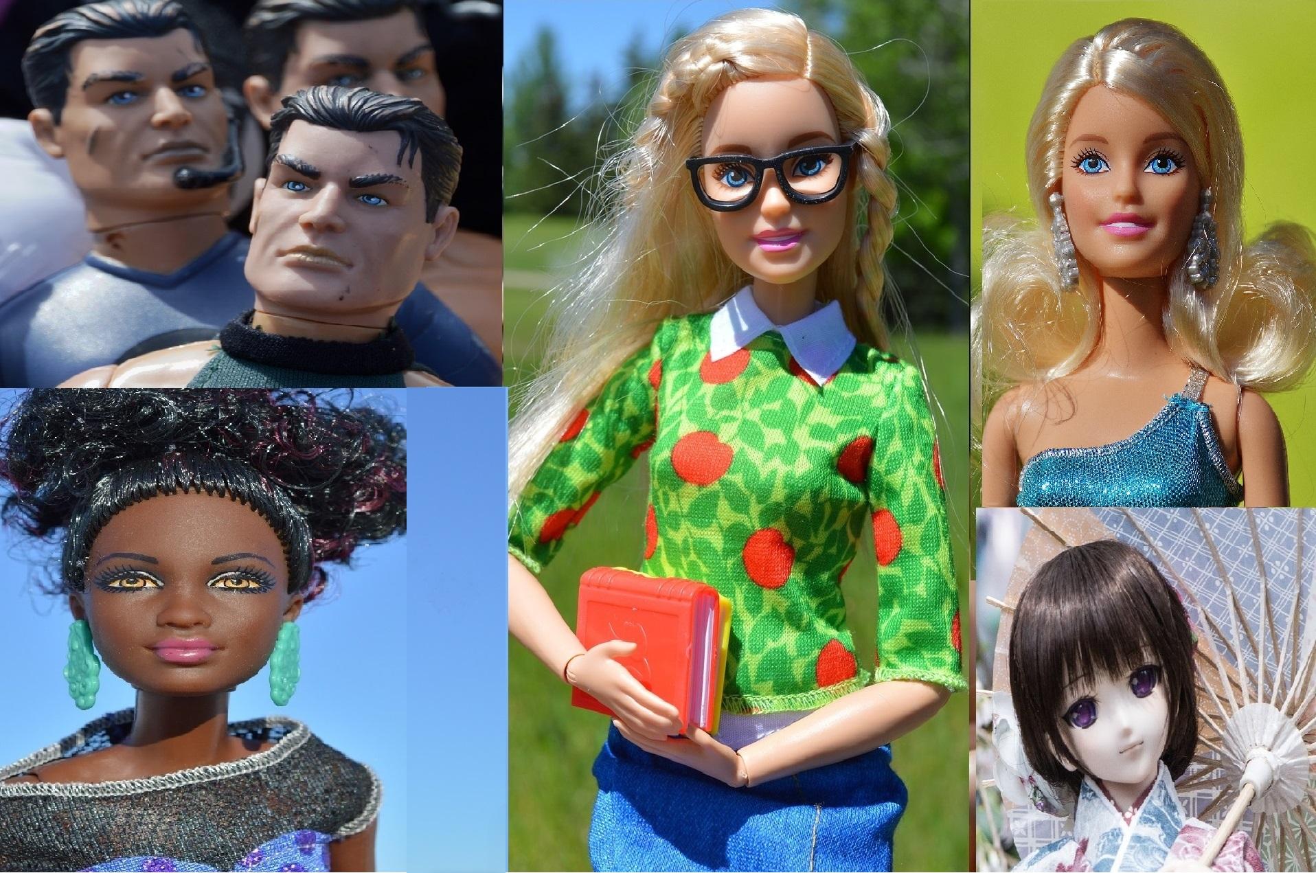 dolls- rugged men, black Barbie, nerd girl, white Barbie, Asian doll - Stereotypes