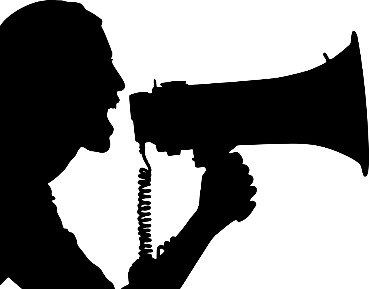 woman yelling into a bullhorn - illustration
