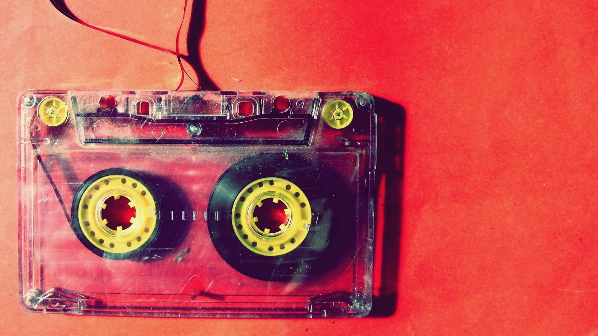 cassette tape on red background