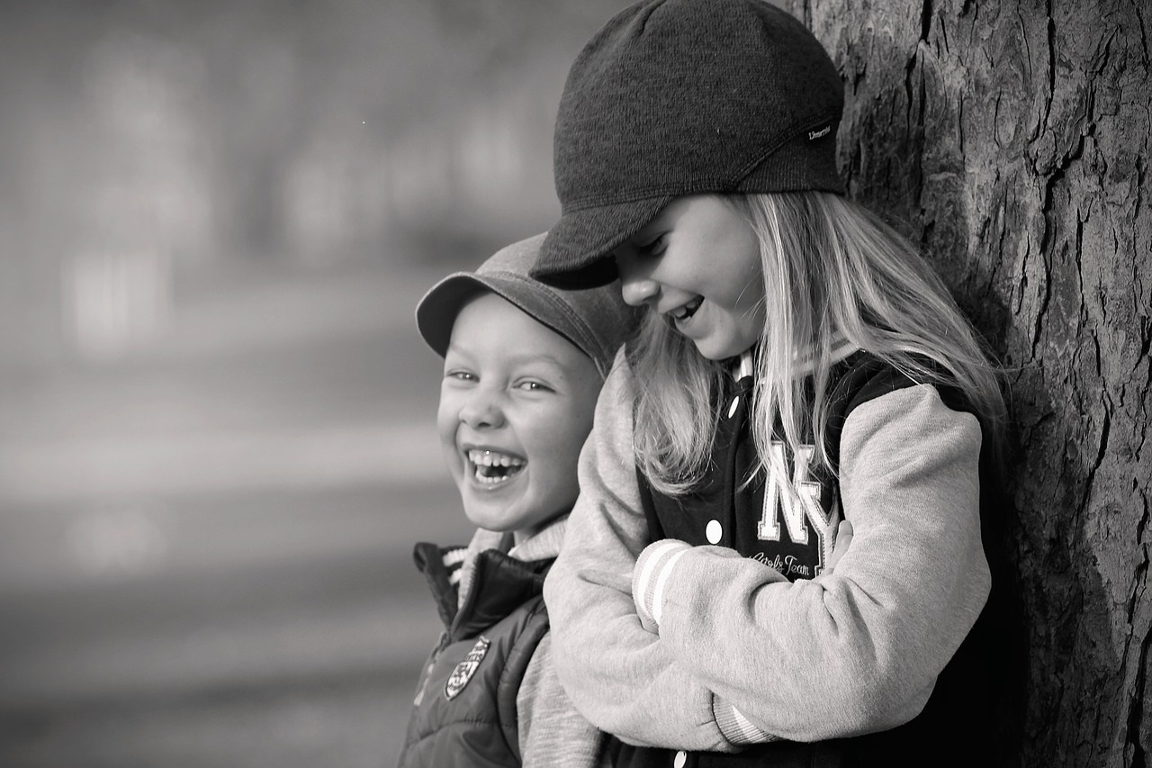 two children laughing
