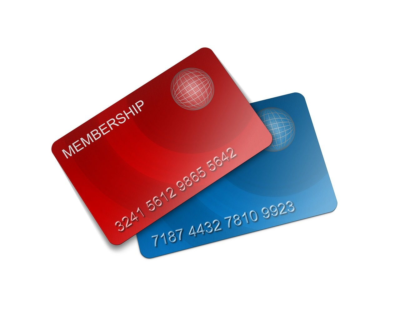 red and blue membership cards