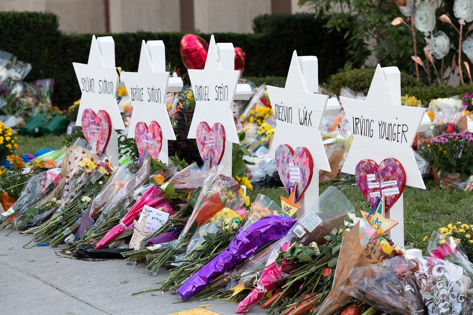 Tree of Life synagogue memorial after massacre