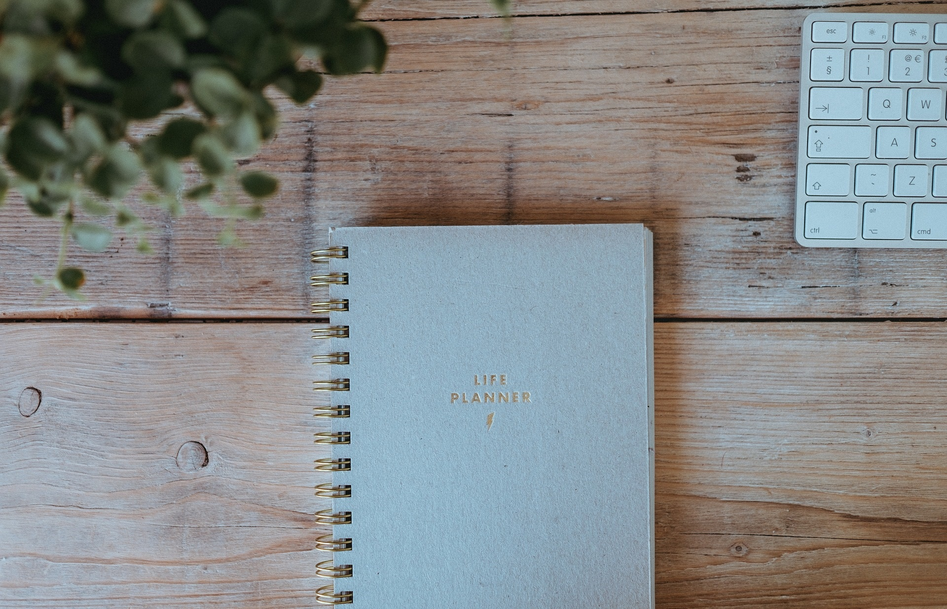 life planner notebook on a wooden table