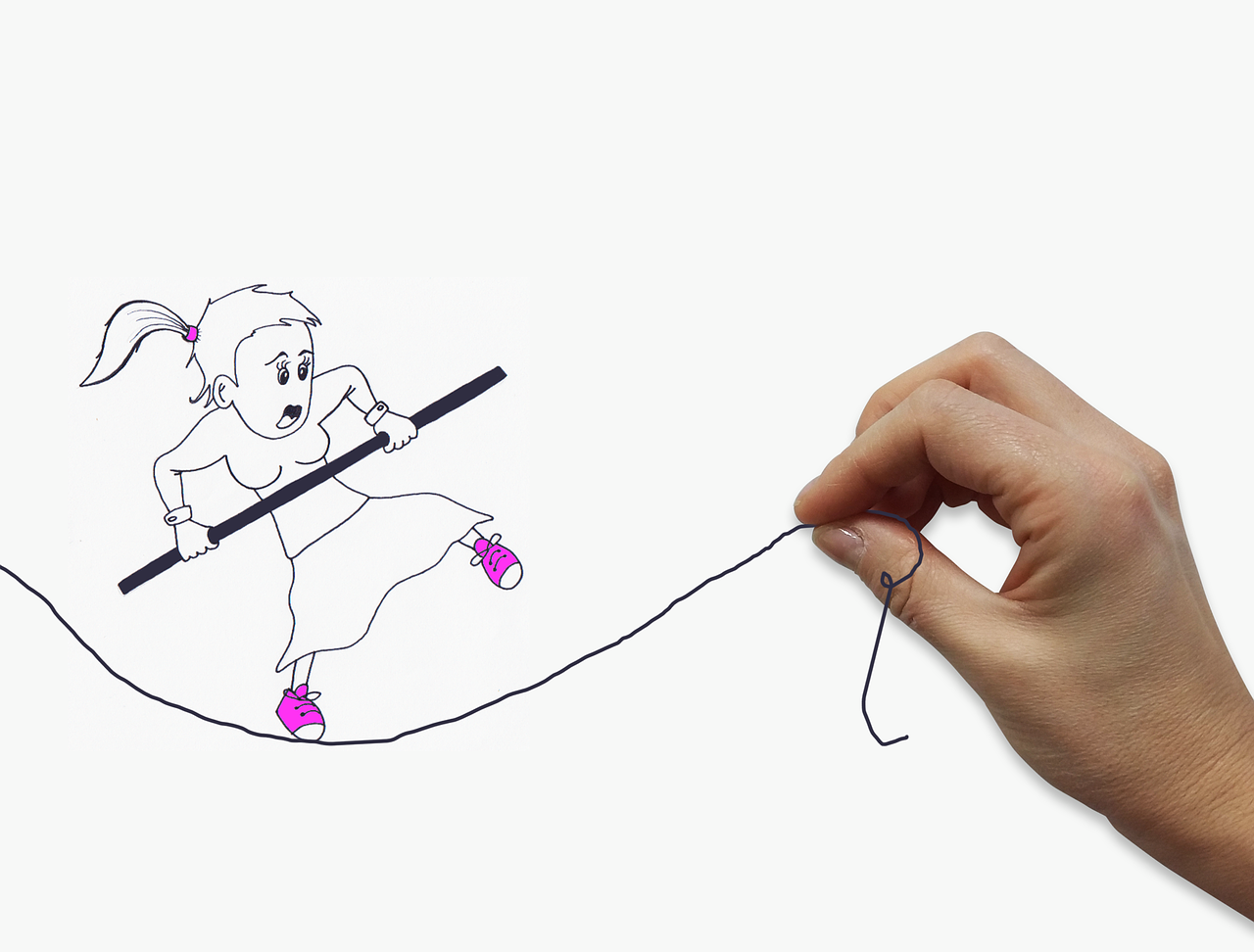 A fearful woman (illustration) walking on a loose wire held by a real woman's hand