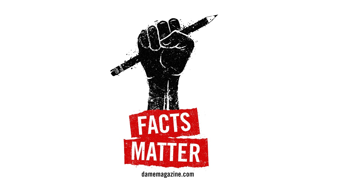 "Fist holding pencil - ""Facts Matter"" illustration for Dame Magazine"