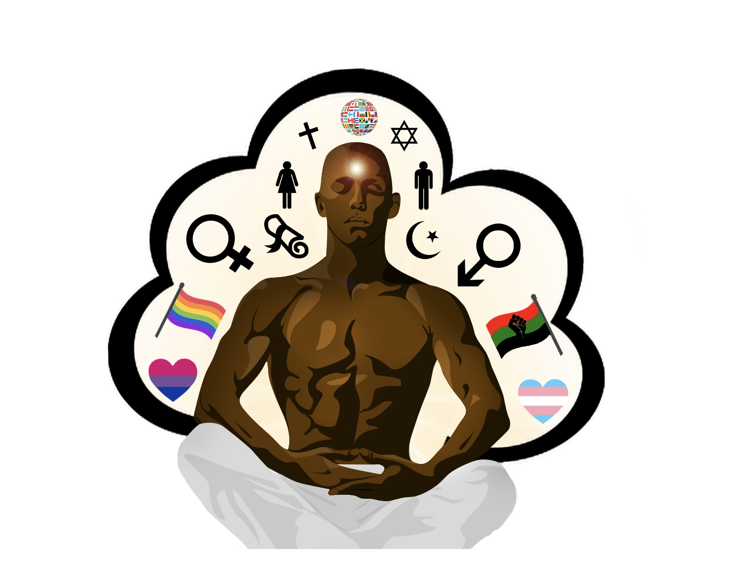 Redefining Black Masculinity icon - black meditating man surrounded by various symbols