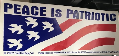 Peace is Patriotic bumper sticker - red, white, & blue