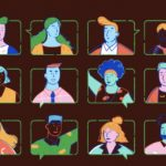 Bi Book Awards graphic - diverse cartoon people