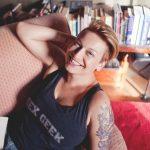 Allison Moon wearing a Sex Geek t-shirt