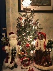 interracial Mr. & Mrs. Claus and Yule tree