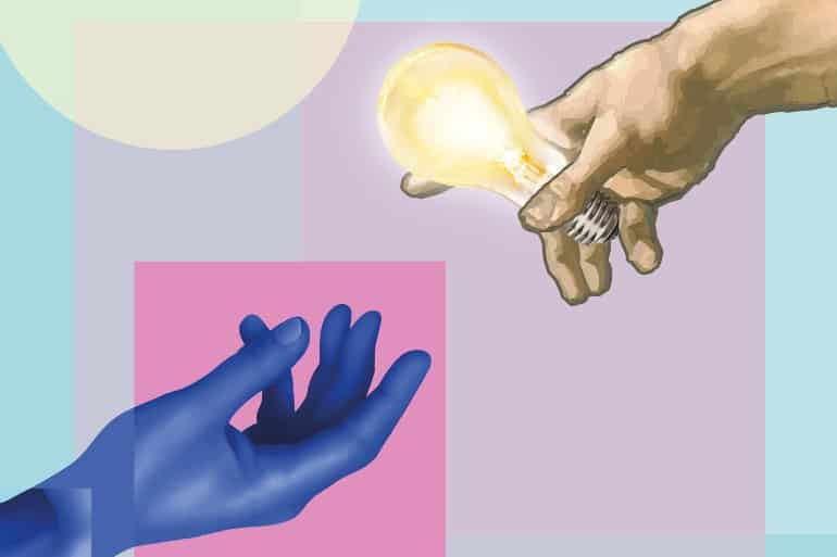 blue hand reaching out for hand with lightbulb - Image credit: MPI for Empirical Aesthetics